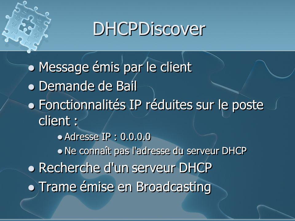 DHCPDiscover Message émis par le client Demande de Bail