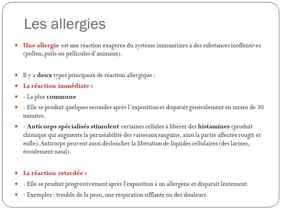 Les allergies Une allergie est une réaction exagérée du système immunitaire à des substances inoffensives (pollen, poils ou pellicules d'animaux).