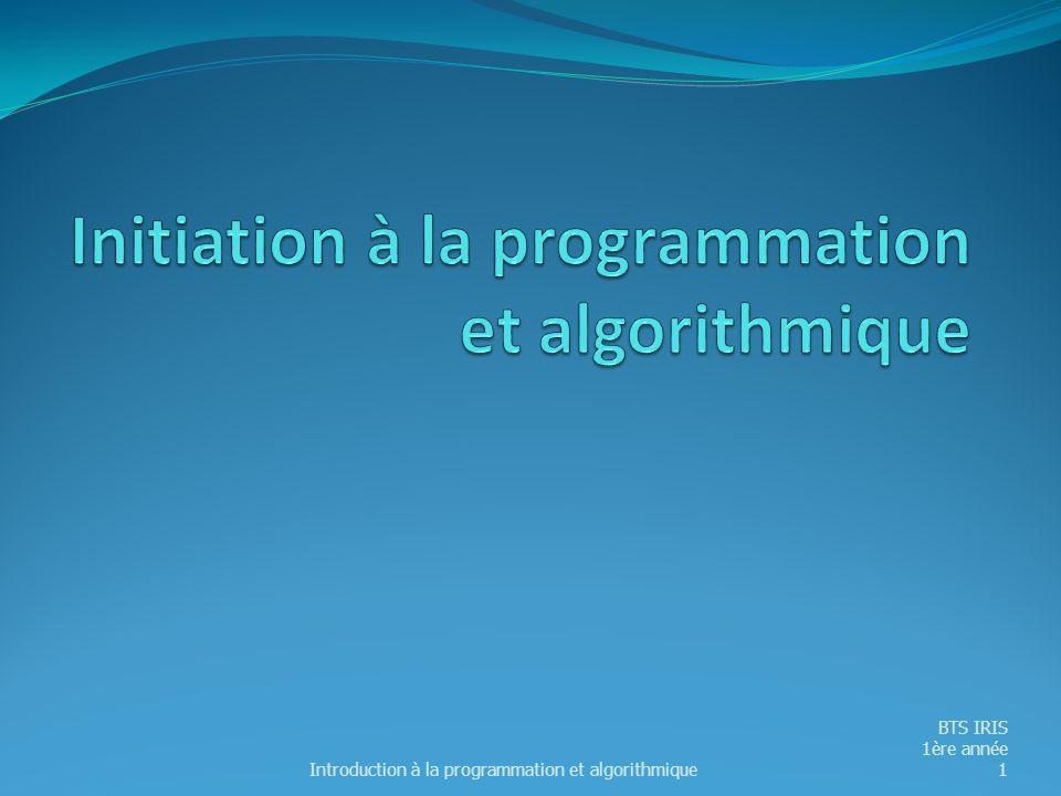 Initiation à la programmation et algorithmique