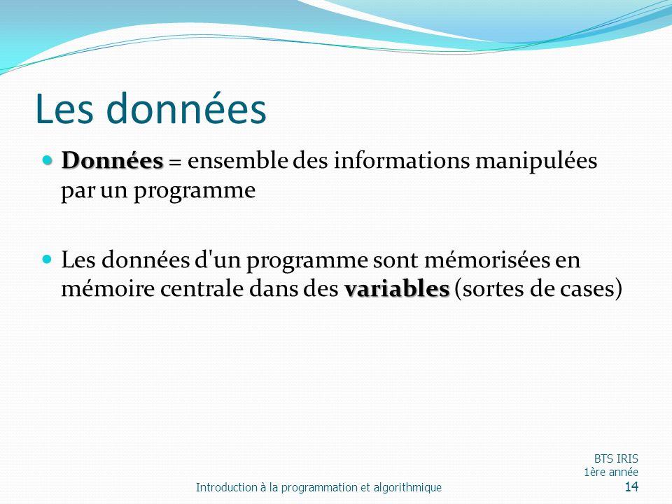Les données Données = ensemble des informations manipulées par un programme.