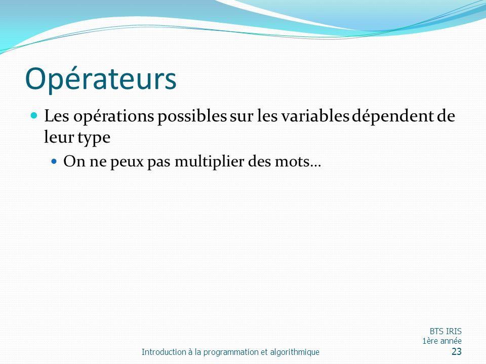 Opérateurs Les opérations possibles sur les variables dépendent de leur type. On ne peux pas multiplier des mots…