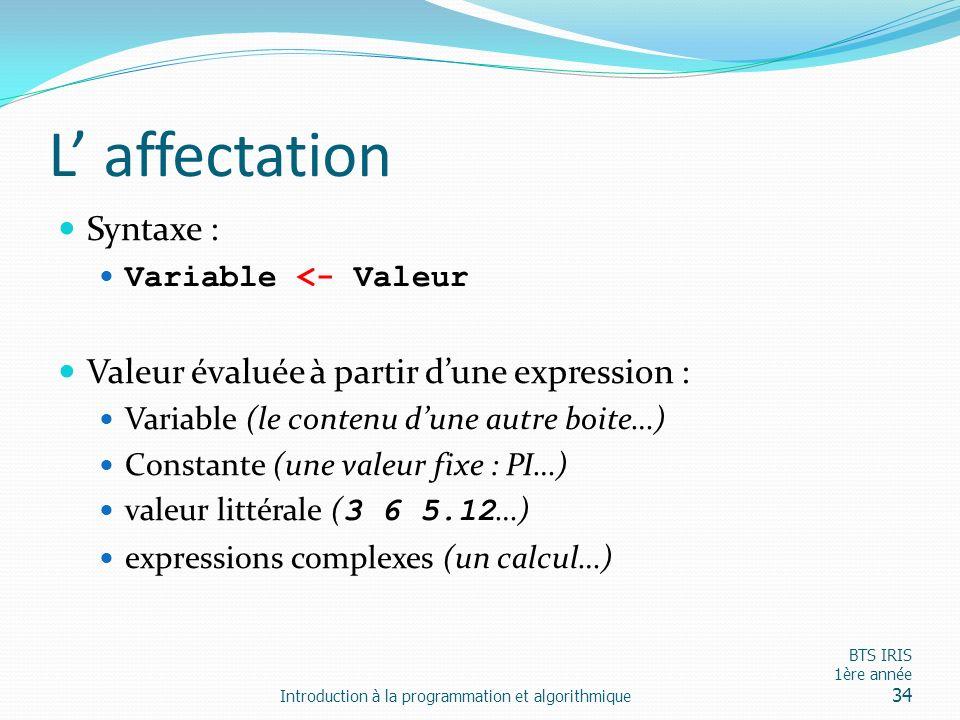 L' affectation Syntaxe : Valeur évaluée à partir d'une expression :