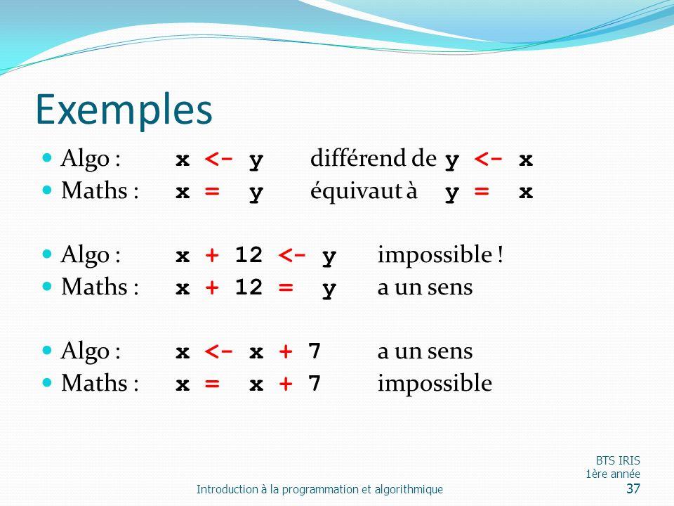 Exemples Algo : x <- y différend de y <- x
