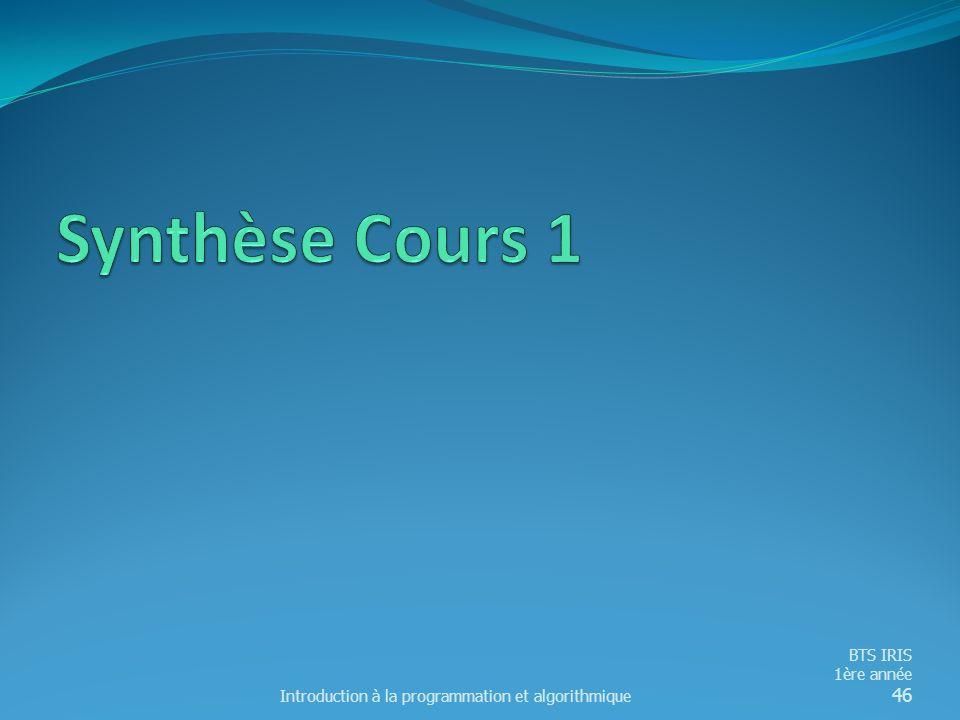 Synthèse Cours 1 Introduction à la programmation et algorithmique