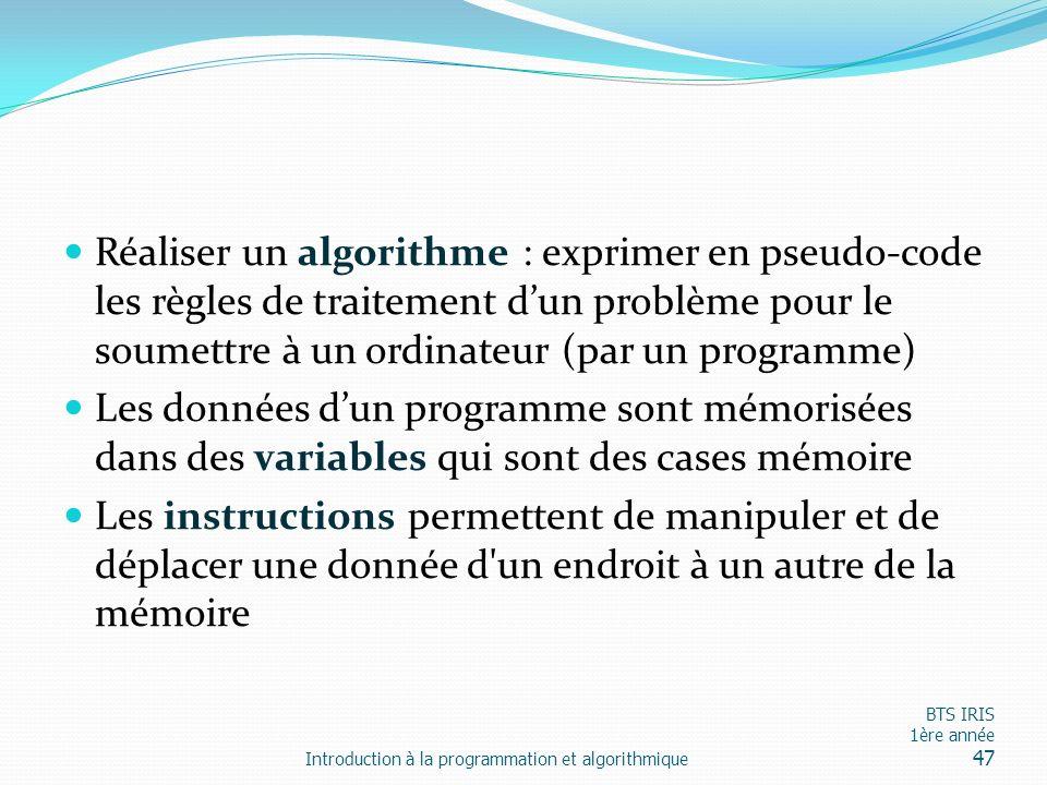 Réaliser un algorithme : exprimer en pseudo-code les règles de traitement d'un problème pour le soumettre à un ordinateur (par un programme)