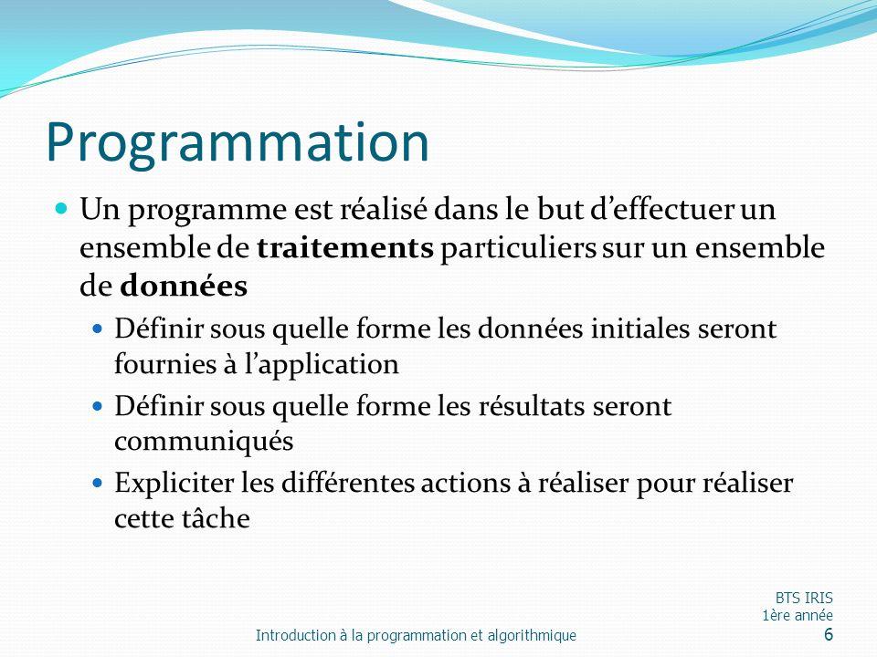 Programmation Un programme est réalisé dans le but d'effectuer un ensemble de traitements particuliers sur un ensemble de données.
