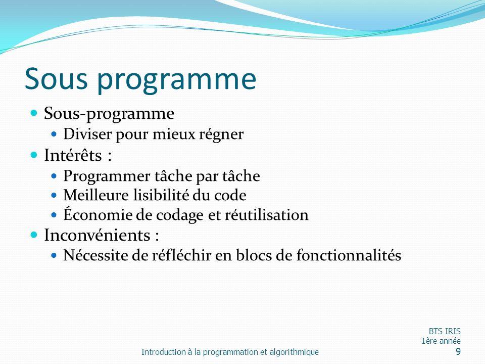 Sous programme Sous-programme Intérêts : Inconvénients :