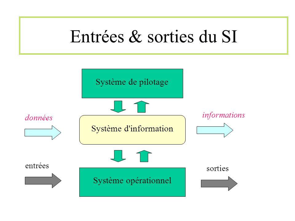 Entrées & sorties du SI Système de pilotage Système d information