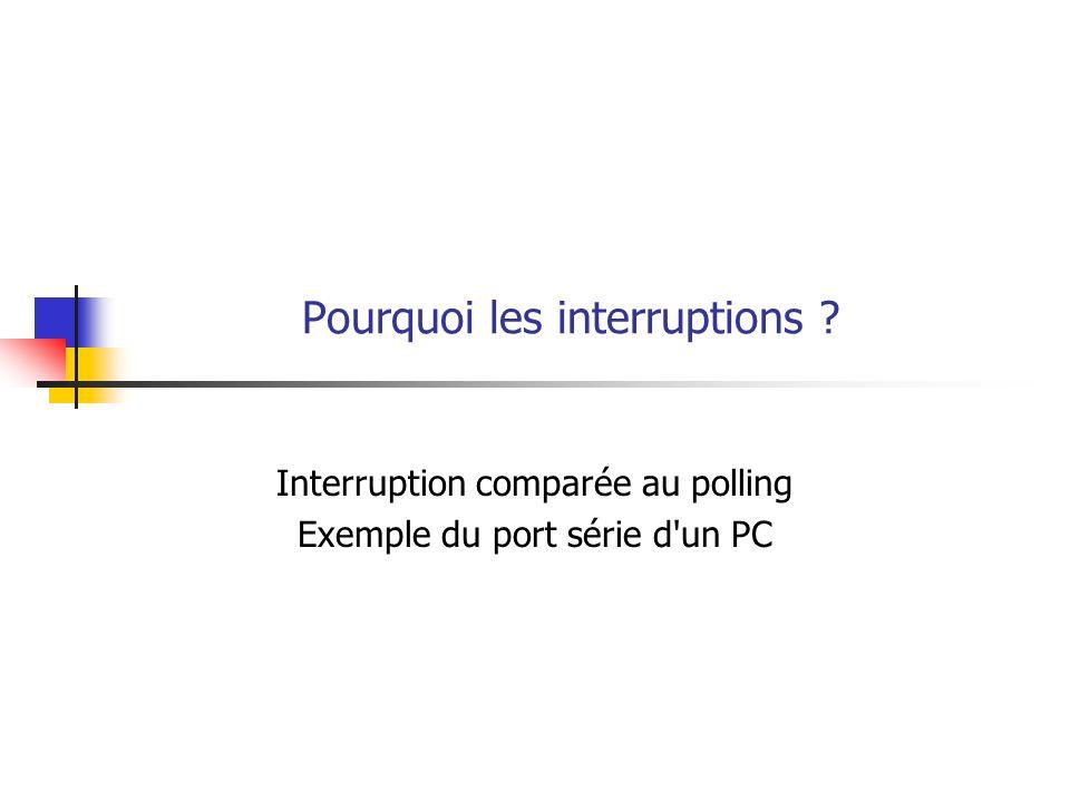 Pourquoi les interruptions