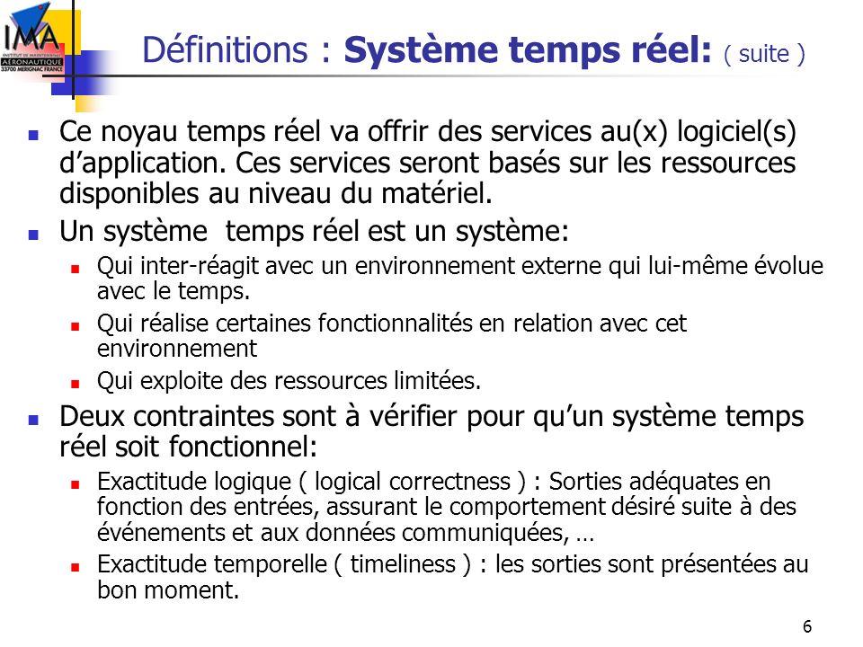 Définitions : Système temps réel: ( suite )
