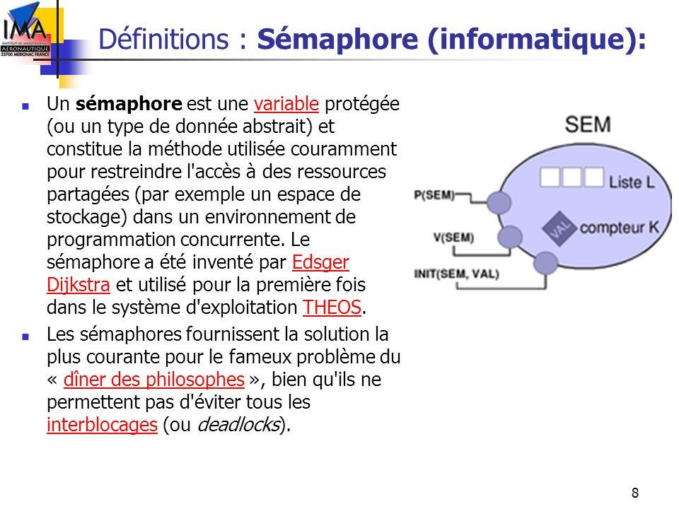 Définitions : Sémaphore (informatique):