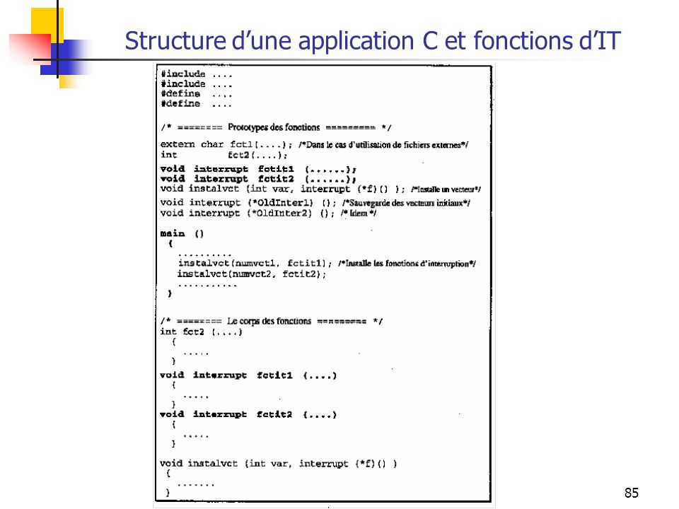 Structure d'une application C et fonctions d'IT