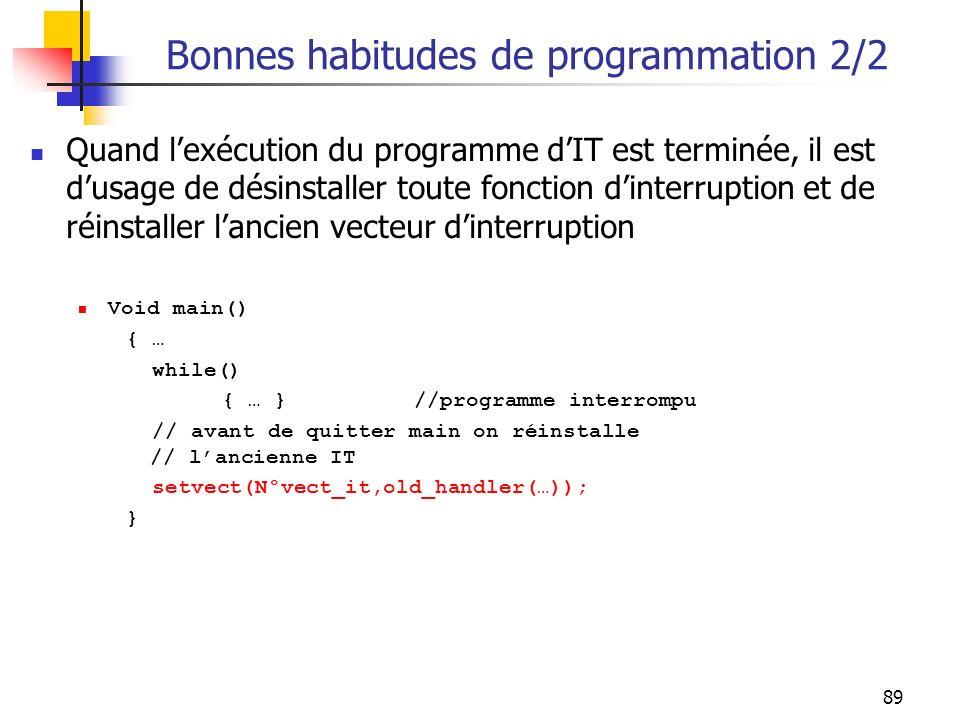 Bonnes habitudes de programmation 2/2