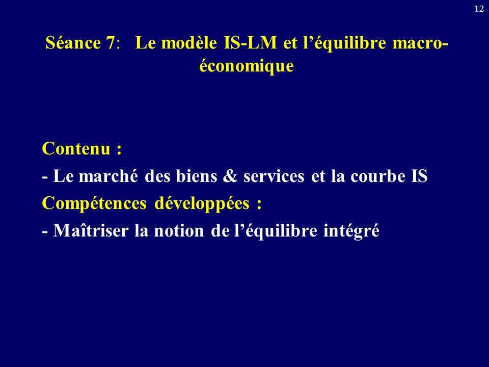 Séance 7: Le modèle IS-LM et l'équilibre macro-économique