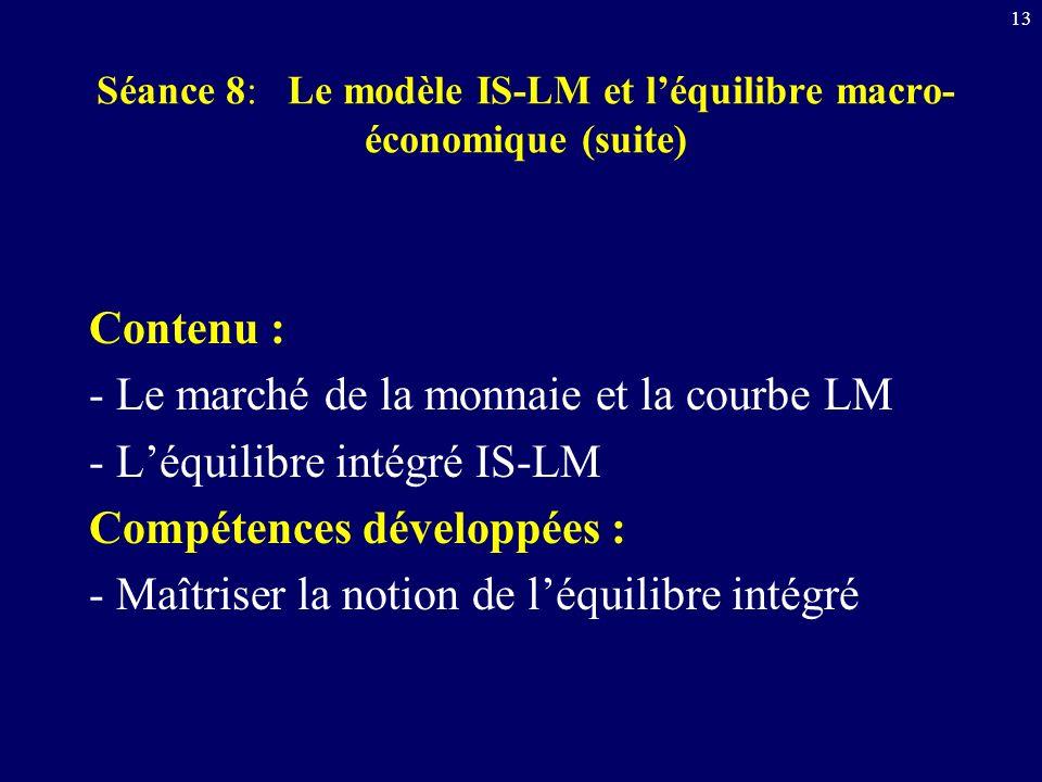 Séance 8: Le modèle IS-LM et l'équilibre macro-économique (suite)
