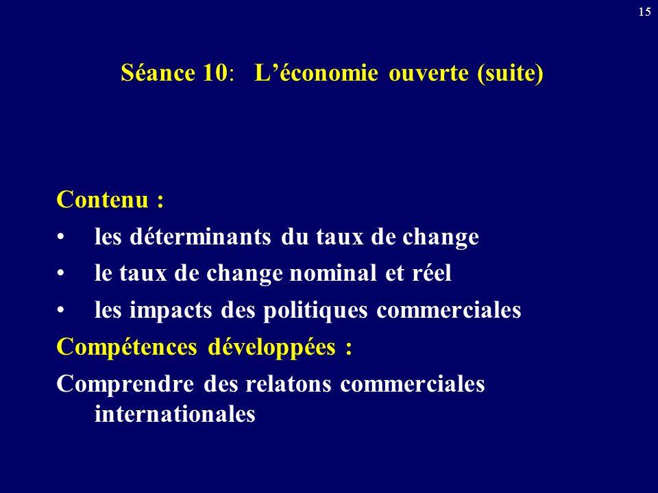 Séance 10: L'économie ouverte (suite)