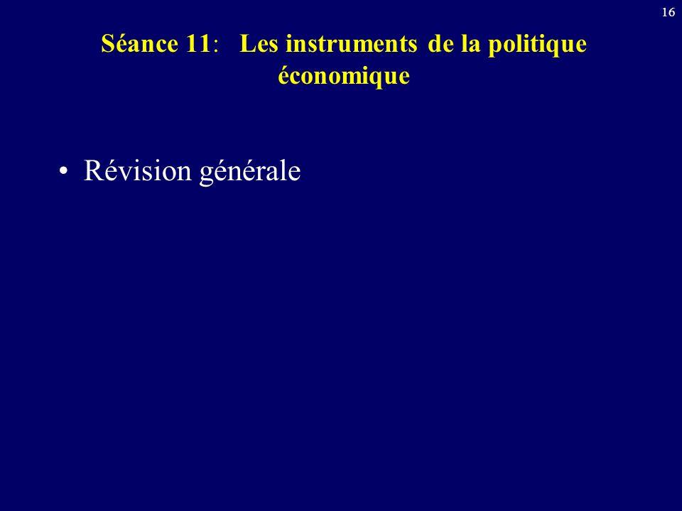 Séance 11: Les instruments de la politique économique
