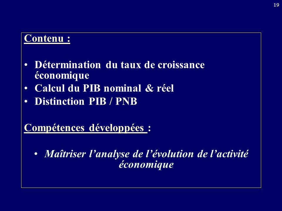 Maîtriser l'analyse de l'évolution de l'activité économique