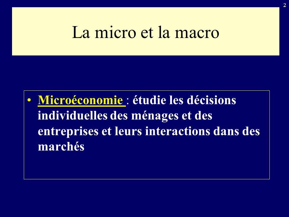 La micro et la macro Microéconomie : étudie les décisions individuelles des ménages et des entreprises et leurs interactions dans des marchés.