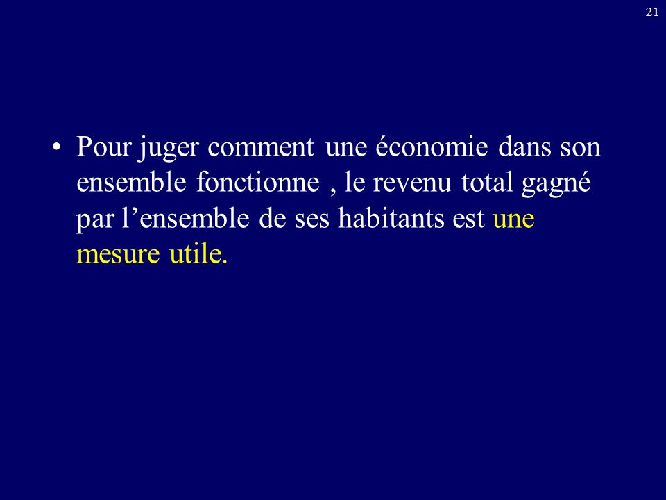 Pour juger comment une économie dans son ensemble fonctionne , le revenu total gagné par l'ensemble de ses habitants est une mesure utile.