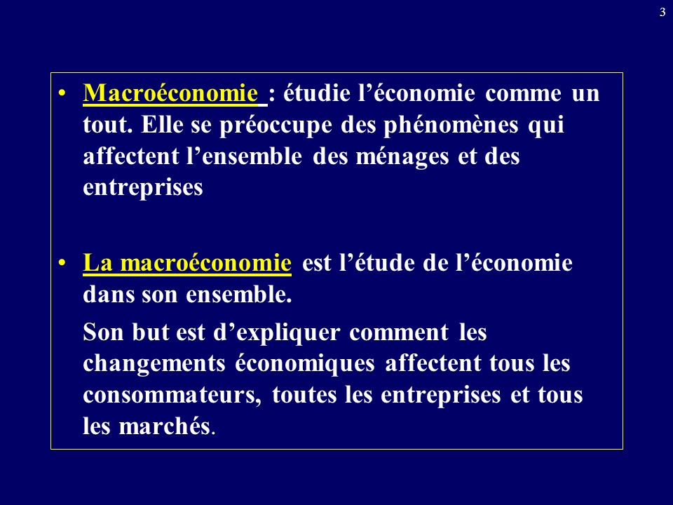 Macroéconomie : étudie l'économie comme un tout