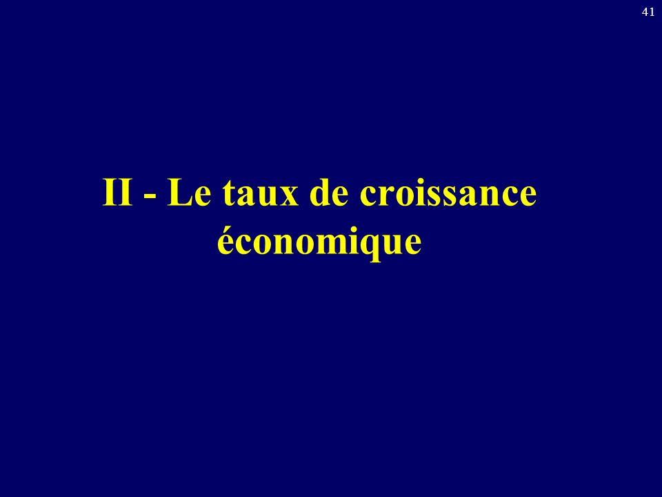 II - Le taux de croissance économique
