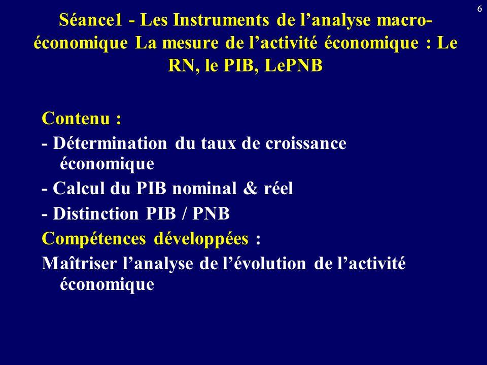 Séance1 - Les Instruments de l'analyse macro-économique La mesure de l'activité économique : Le RN, le PIB, LePNB