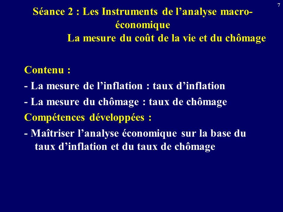 Séance 2 : Les Instruments de l'analyse macro-économique