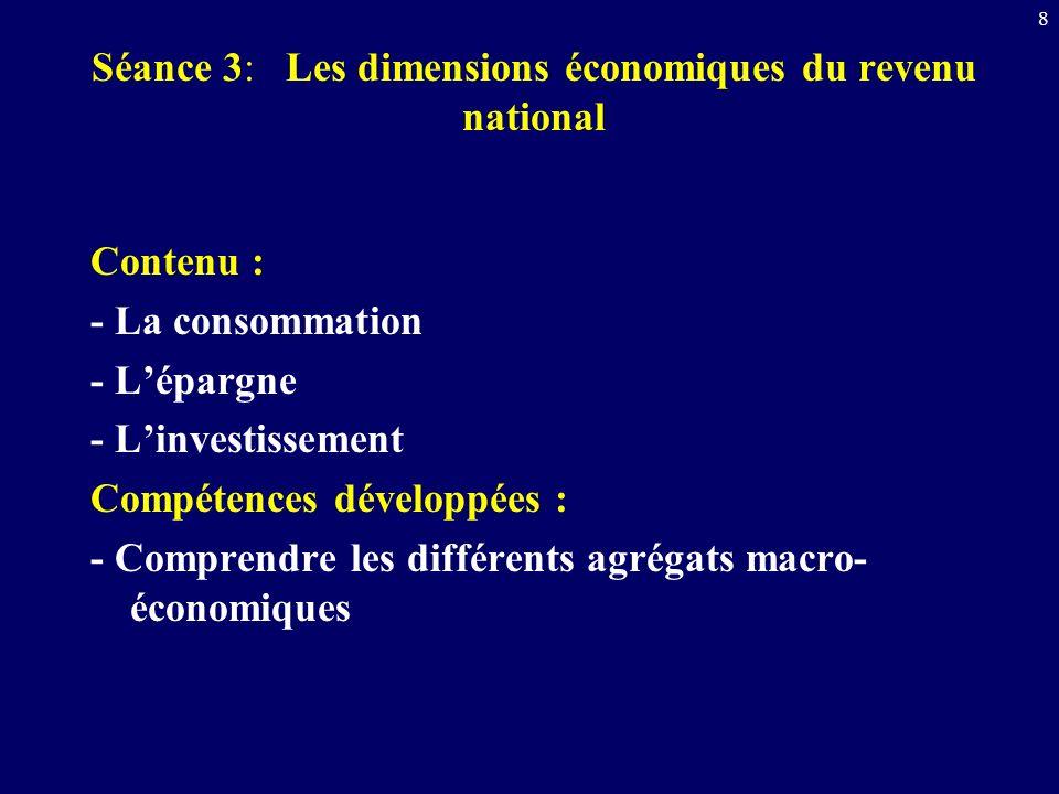 Séance 3: Les dimensions économiques du revenu national