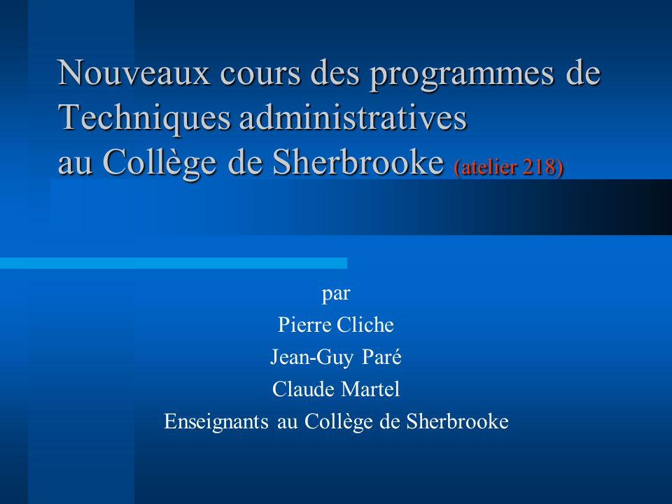 Enseignants au Collège de Sherbrooke