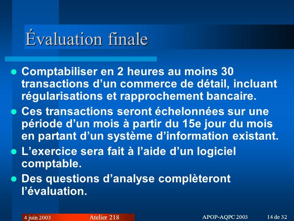 Évaluation finale Comptabiliser en 2 heures au moins 30 transactions d'un commerce de détail, incluant régularisations et rapprochement bancaire.