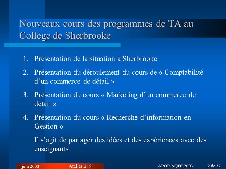 Nouveaux cours des programmes de TA au Collège de Sherbrooke