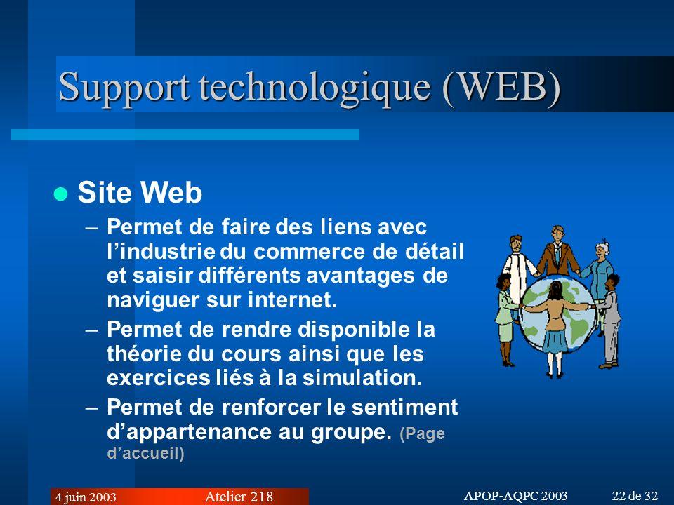 Support technologique (WEB)
