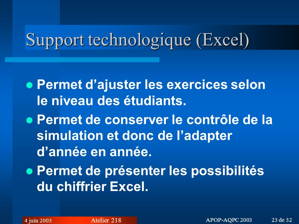 Support technologique (Excel)