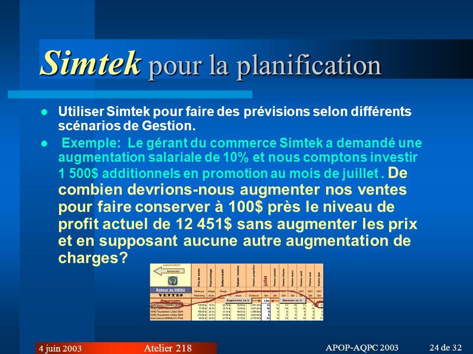 Simtek pour la planification