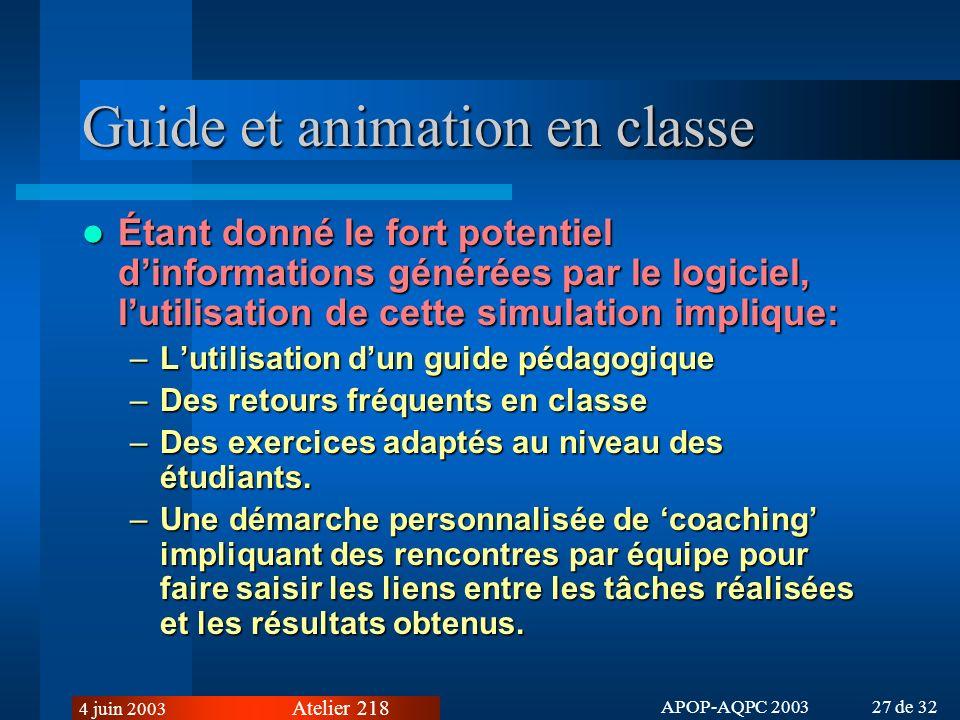 Guide et animation en classe