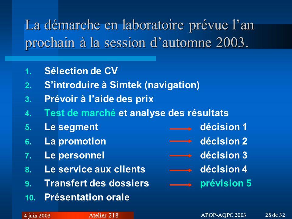 La démarche en laboratoire prévue l'an prochain à la session d'automne 2003.
