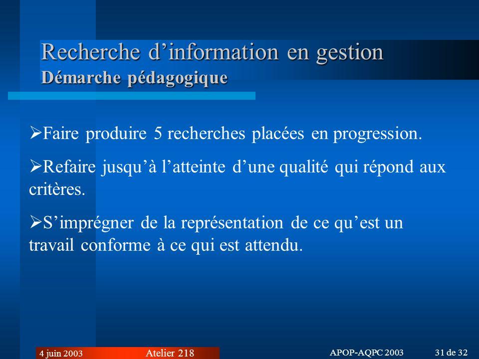 Recherche d'information en gestion Démarche pédagogique