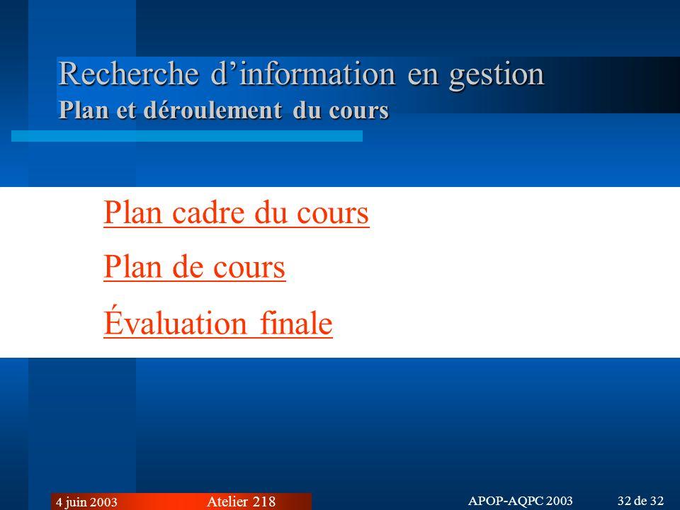 Recherche d'information en gestion Plan et déroulement du cours