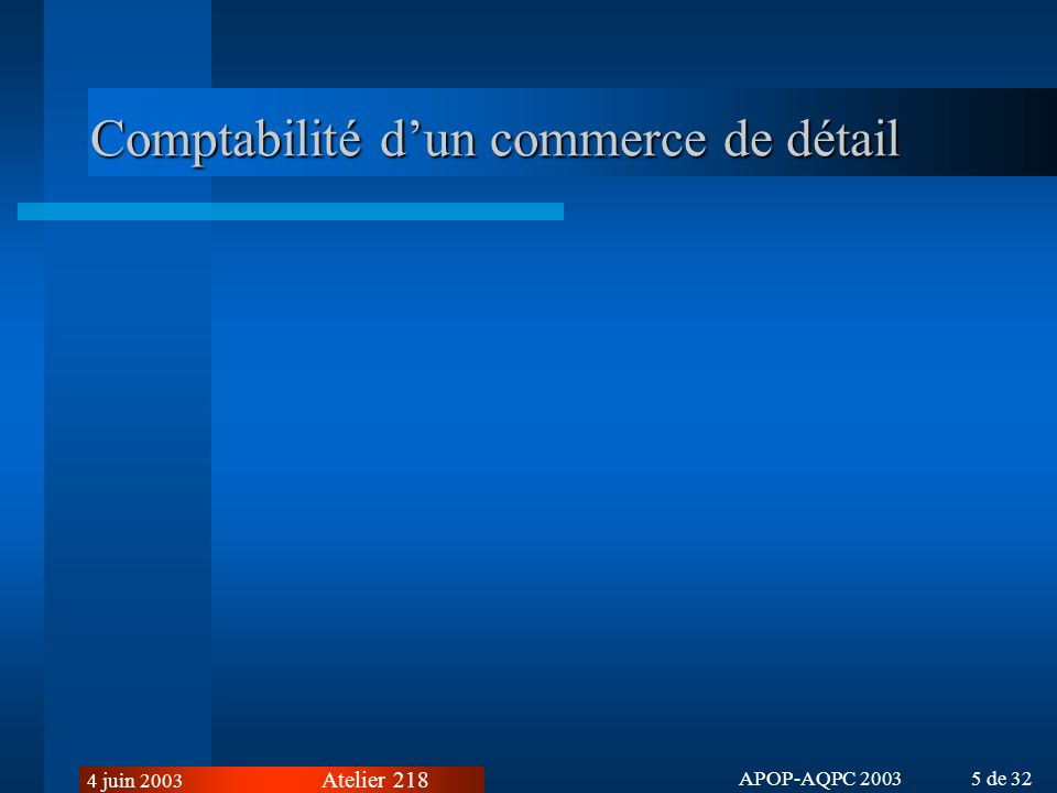 Comptabilité d'un commerce de détail