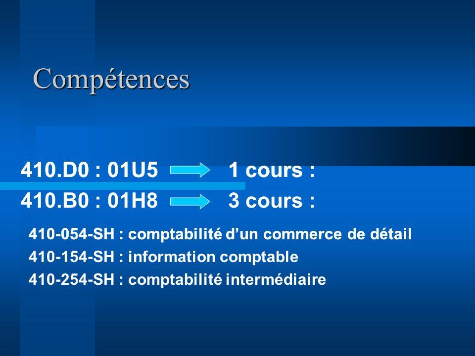 Compétences 410.D0 : 01U5 1 cours : 410.B0 : 01H8 3 cours :
