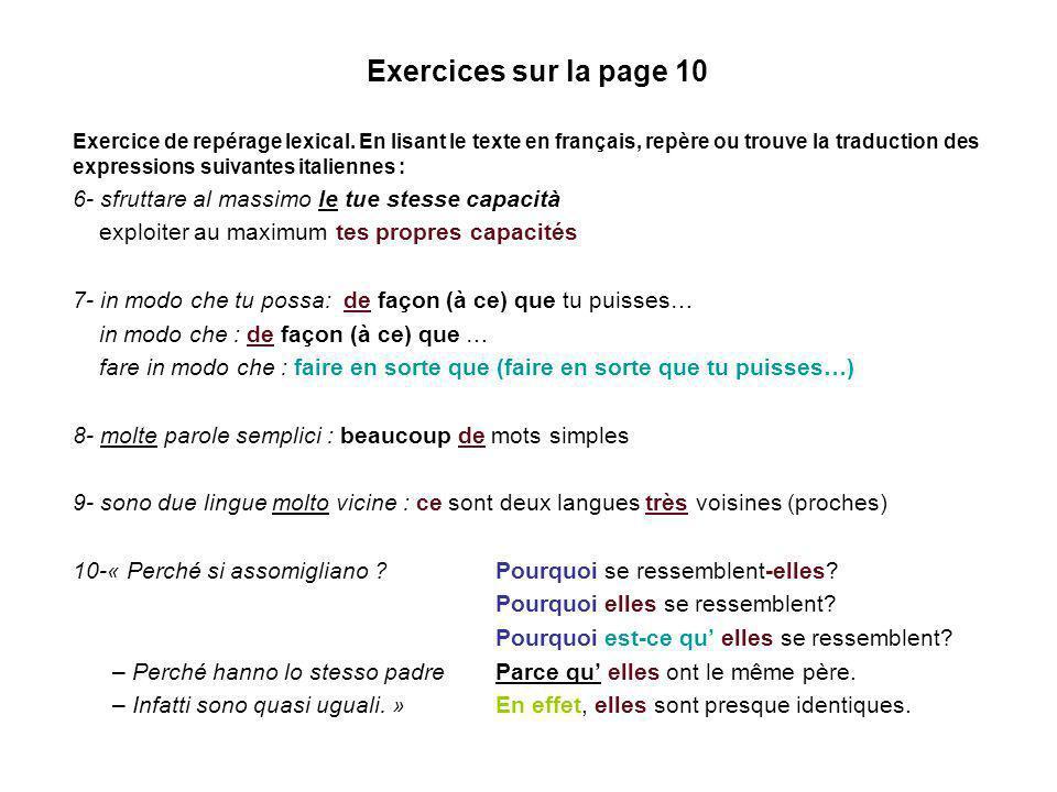 Exercices sur la page 10