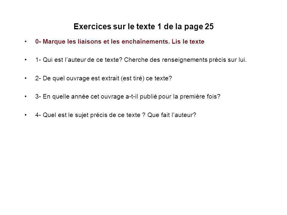Exercices sur le texte 1 de la page 25