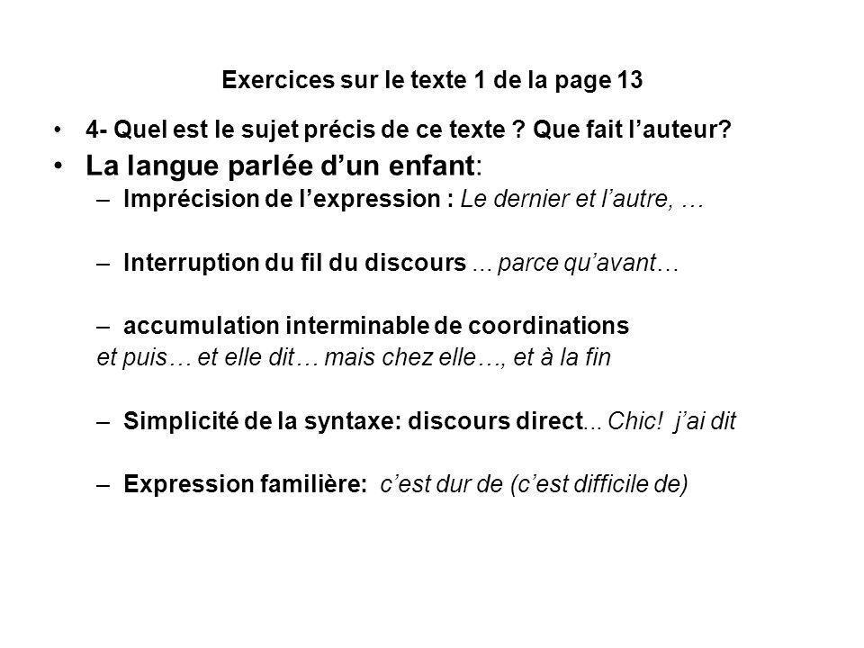 Exercices sur le texte 1 de la page 13