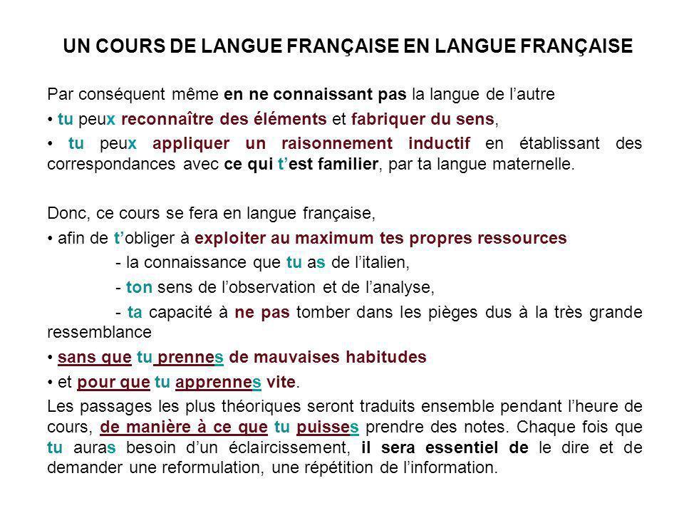 UN COURS DE LANGUE FRANÇAISE EN LANGUE FRANÇAISE