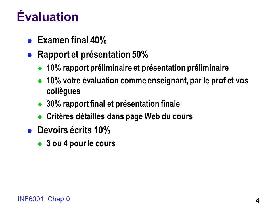 Évaluation Examen final 40% Rapport et présentation 50%