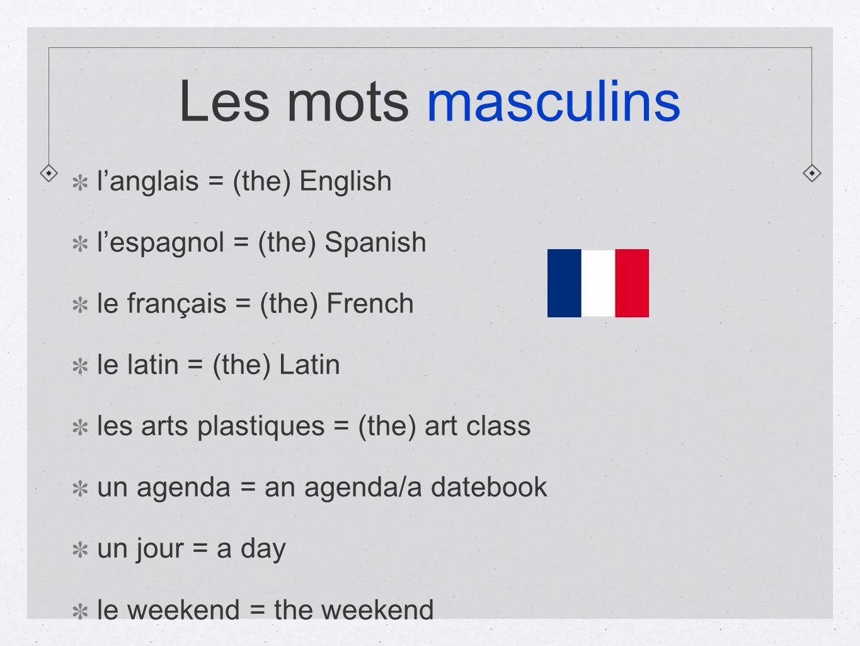 Les mots masculins l'anglais = (the) English
