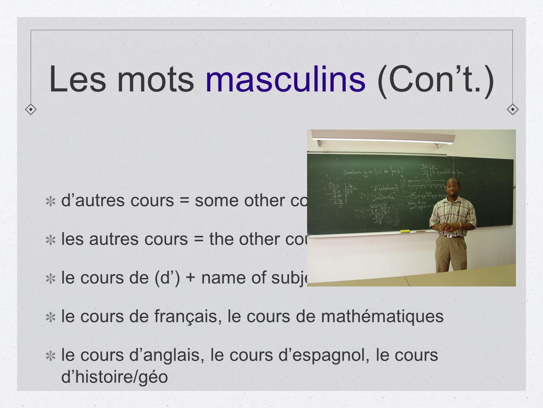 Les mots masculins (Con't.)