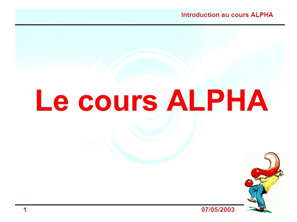 Le cours ALPHA Présentation personnelle