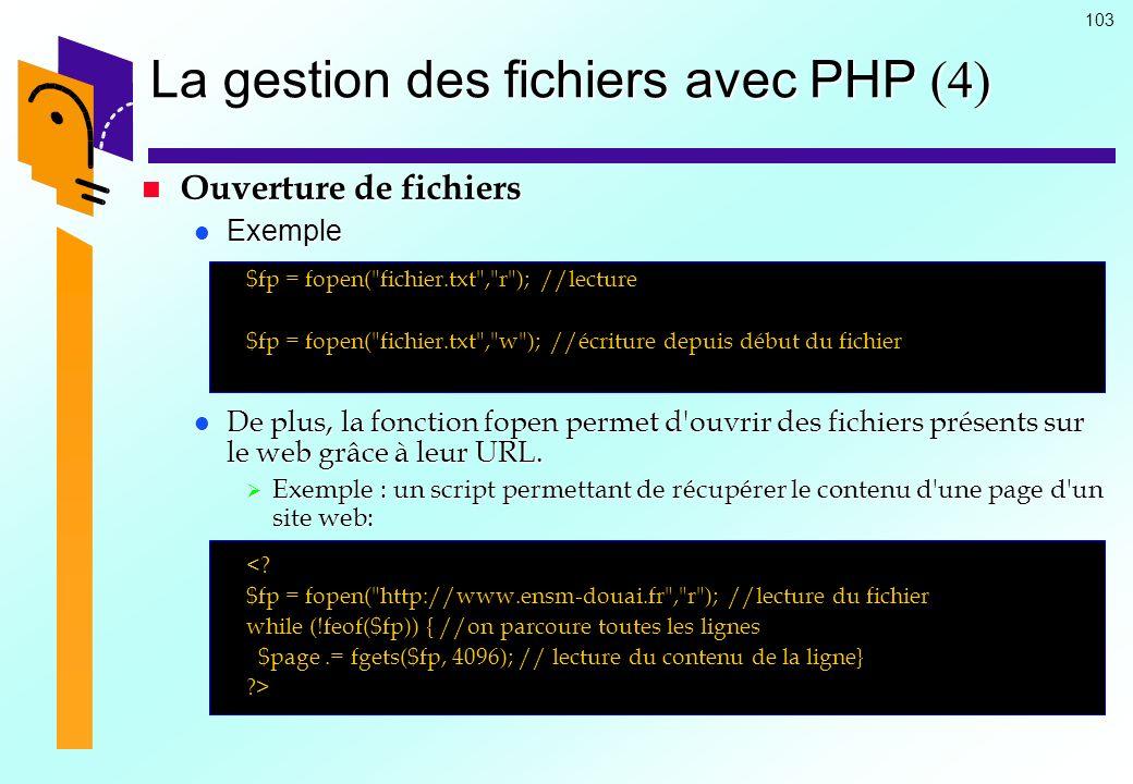 La gestion des fichiers avec PHP (4)